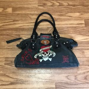 Ed Hardy Grayish Black Distressed Handbag